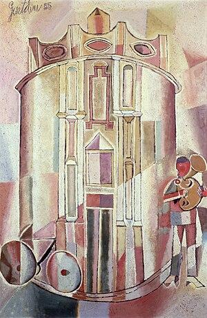 Franco Gentilini - Cattedrale con suonatore di tromba, 1955 (Art collections of Fondazione Cariplo)