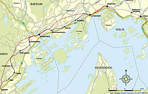 Asker Line - Red line shows the Asker Line, black the Drammen Line, with tunnels dotted