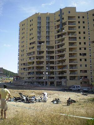 2009 Palma Nova bombing - Investigators sift through debris at the Burgos Civil Guard barracks