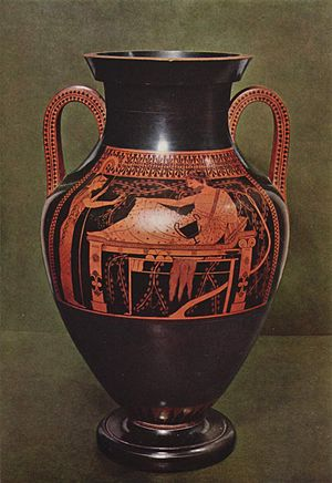 Bilingual vase painting - Red-figure side of the vase illustrated above, same subject