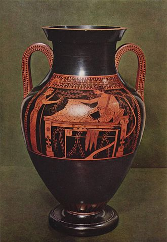 Belly Amphora by the Andokides Painter (Munich 2301) - Red-figure side of the amphora.