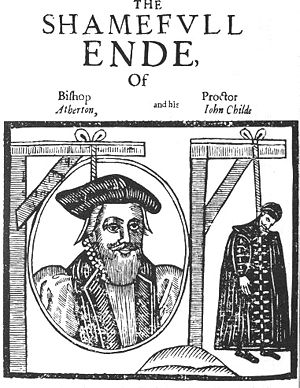 John Atherton - John Atherton, Bishop of Waterford and Lismore, was hanged for sodomy under a law that he had helped to institute; his proctor John Childe was also hanged. Anonymous pamphlet, 1641