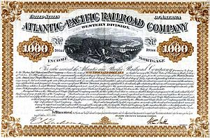 Atlantic and Pacific Railroad - Western division $1000 bond issued 1880