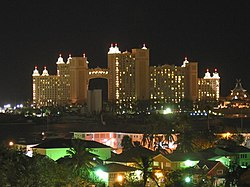 Nassau skyline at night.