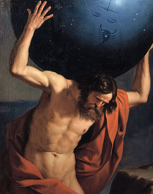 Atlas holding up the celestial globe - Guercino (1646)