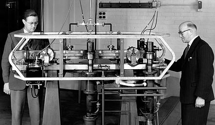 Louis Essen (right) and Jack Parry (left) standing next to the world's first caesium-133 atomic clock. Atomic Clock-Louis Essen.jpg
