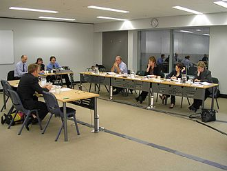 Australian Senate committees - A Senate committee hearing, showing witness (left), transcription and broadcasting staff (back) and Senators (right)