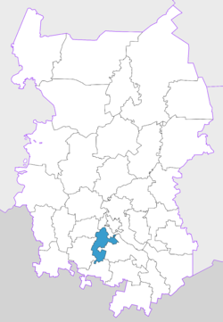 Location of Azovsky Nemetsky National District in Omsk Oblast