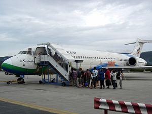 Bangkok Airways Boeing 717 at Koh Samui Airpor...