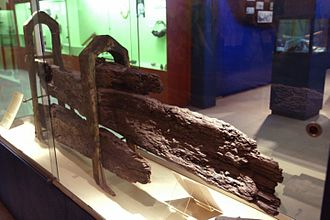 History of the Pitcairn Islands - Parts of Bounty's rudder, recovered from Pitcairn Island and preserved in a Fiji museum