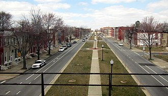 Oliver, Baltimore - North Broadway in Oliver viewed from the Baltimore Belt Line railroad.