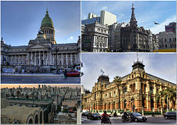 Clockwise from top: the Argentine National Congress Palace, Confitería El Molino, the Abasto neighbourhood and The Water Company Palace.