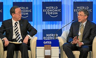 Ban Ki-moon - Ban Ki-moon with Bill Gates, World Economic Forum, 24 January 2013