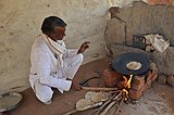 Bana making chapatis, Mara village, Morena district, MP.jpg
