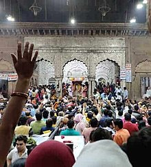 Devotees taking darshan at Banke Bihari Mandir in Vrindavan