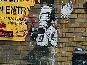 "Art intervention - Photo of ""Banksy"" art in Brick Lane, East End. 2004."