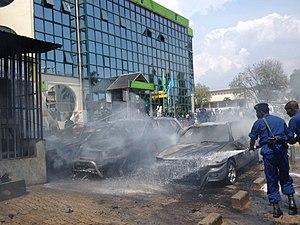 KCB Bank Burundi Limited - View of the Bujumbura branch, after a grenade explosion, May 29, 2015