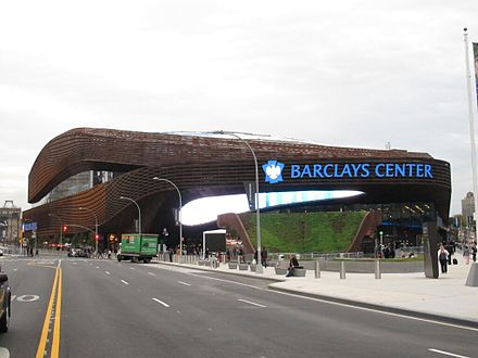Barclays Center, home of the Brooklyn Nets and New York Islanders in Brooklyn Barclays Center western side.jpg