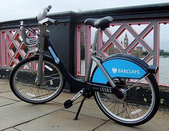 Santander Cycles - Cycle on Lambeth Bridge.
