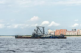 Barge on Neva river