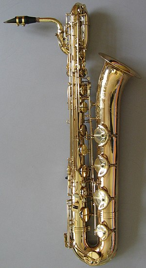 "Savoy Truffle - A ""low A"" baritone saxophone. The use of saxophones on ""Savoy Truffle"" introduced a sound that characterised many of Harrison's recordings as a solo artist."