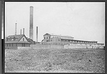 A black-and-white image of a factory on Barren Island, pictured circa 1911–1916