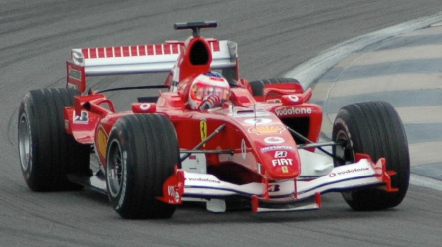 Barrichello (Ferrari) qualifying at USGP 2005