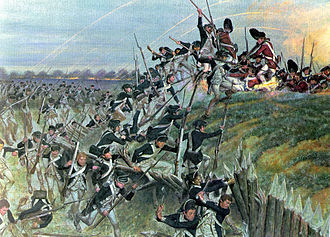 United States Army - Storming of Redoubt No. 10 in the Siege of Yorktown during the American Revolutionary War prompted the British government to begin negotiations, resulting in the Treaty of Paris and British recognition of the United States of America