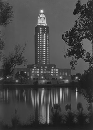 Louisiana State Capitol - The new capitol lit up at night in 1932