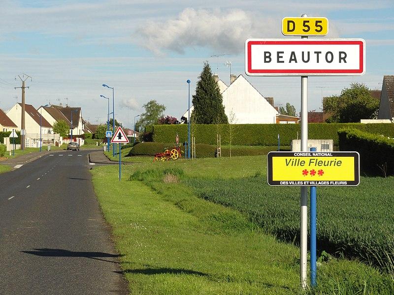 Beautor (Aisne) city limit sign