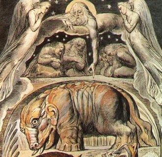 William Blake's Illustrations of the Book of Job - Detail of watercolour illustrating Behemoth and Leviathan, upon which plate 15 of the engravings was based.