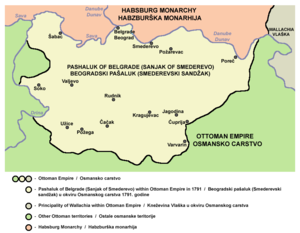 Sanjak of Smederevo - Sanjak of Smederevo (Pashaluk of Belgrade) in 1791