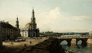 View of Dresden from the Left Shore of the Elbe River, up from the Bridgehead of the Historical City Centre