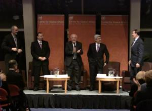 "Alon Ben-Meir - Ben-Meir hosting ambassadors Bashar Jaafari, Khalid al-Nafisee, Hamid al-Bayati, and Riyad Mansour at a ""Global Leaders: Discussions with Alon Ben-Meir,"" on November 30, 2010."