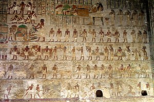 Khnumhotep II - Many of Khnumhotep's relatives. The sitting woman in the top-middle is his wife Khety