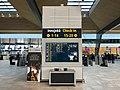 Bergen Lufthavn, Flesland (Bergen Airport, BGO) Terminal 3 avgangshall departure information board NORWAY 2017-10-26.jpg