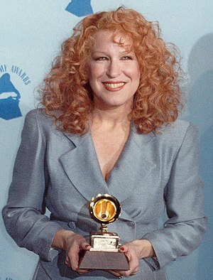 Bette Midler - Midler backstage at the Grammy Awards in February 1990