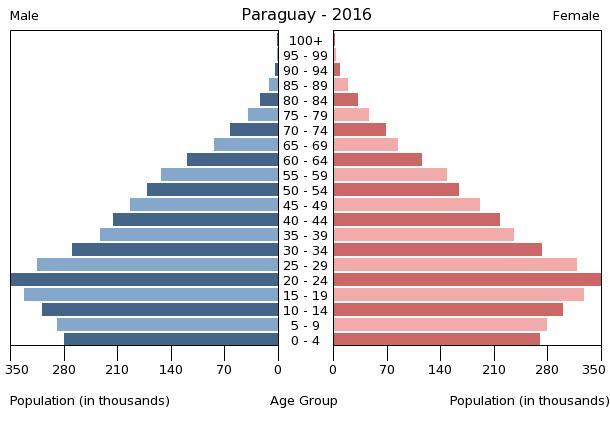 Bevölkerungspyramide Paraguay 2016