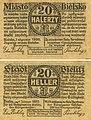 Bielitz Bielsko - banknot zastępczy, notgeld, 20 halerzy, 1920.jpg