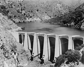 Big Dalton Dam - Big Dalton Dam near full capacity, February 15, 1973.