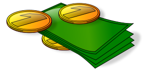 Clipart of bills and coins