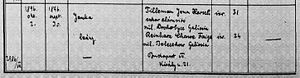 Jolie Gabor - Birth Record for Janka (not Jancsi) Tilleman