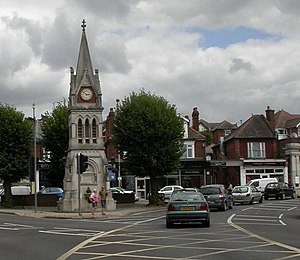 Bitterne Park - The clock tower at Bitterne Park Triangle.