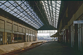 Blackburn railway station - Interior, with original overall roof, now removed, seen in 1976
