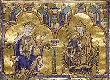 Miniature en couleurs représentant une reine âgée parlant au roi son fils