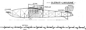 Blériot XIII - Drawing of the Blériot XXIV, taken from the 1912 edition of Jane's All the World's Aircraft