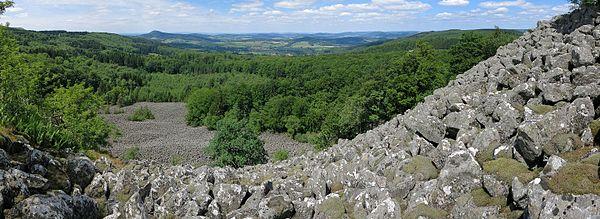 Stone run ohn Schafstein n the Rhön Mountains, lokking to the north