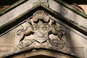 Lady Manners School - The Manners' Arms from above the south door of St. Mary's church Bloxholm.