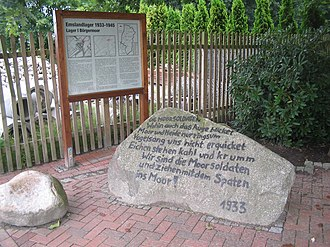 Emsland - Memorial at the site of the entrance to the former Börgermoor concentration camp