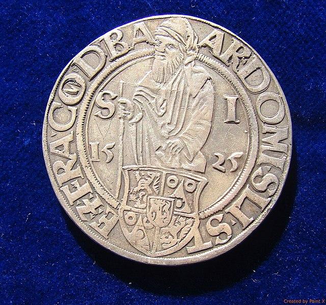 File:Bohemia, Joachimsthaler 1525 Electrotype Copy. VF. Obverse..jpg